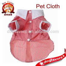 China Wholesale, Pet Dog Cat Clothes, White Cuff Collar Plaid Costume