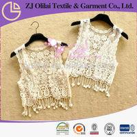 fashion tassel sleevesless white cotton crochet lady vest cotton vest