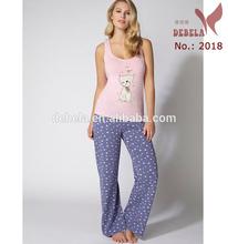Cat and bird print cotton pyjama set for woman