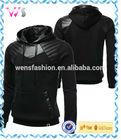 Mens Leather Padding Fleece black hooded motorcycle leather jacket