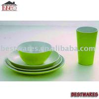 Pure color high-grade restaurant serving plastic melamine dinner cup and plate set
