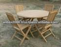 Teak Round Folding Table Set code OST 014 for garden and outdoor furniture