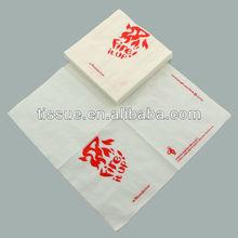 Disposable white paper napkin