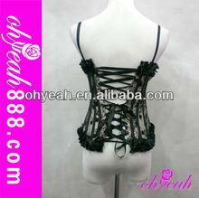 Sexy black satin garter belts,corset lingerie