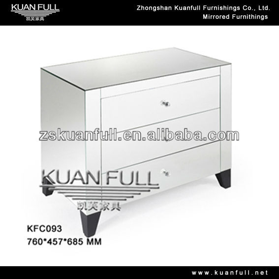 New Arrival modern side table silver mirrored nightstand of 3 drawers