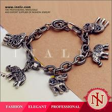 Chinese handmade Fashion jewelry 925 Silver plated Charm Elephants Bracelets LKNSPCH002