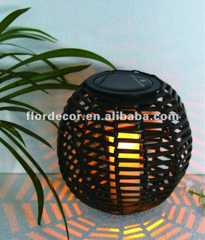 Solaire PVC rotin LED lanterne / solaire bougie LED jardin ...