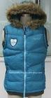 Ladies winter padded vest with fur hood(CWL1003C)