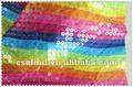 colouful de satén de poliéster bordado con lentejuelas de tela
