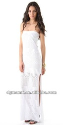 knit white strapless side slit sexy women party dress 2015 new styles