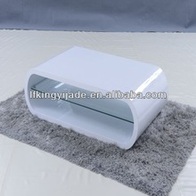 Funky design style white high gloss with tempered glass coffee table