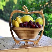 Apple shape bamboo food storage basket gift basket folding fruit basket