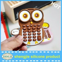 mini cartoon owl silicone calculator for promotional gift