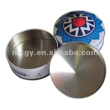Round Mongolia Package Shape Tin Food Can Round Biscuits Cookies Tin Customized Metal Tin Box Decorative Box Candy Metal Box
