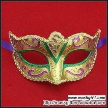 Wholesale High Quality Mardi Gras Mask Purple Green Gold Design Plastic Masquerade Masks