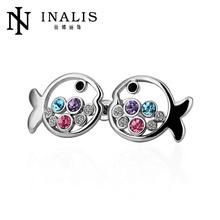 Hot sale colorful cute fashion fish earrings 18k real rose gold crystal stud earrings LKN18KRGPE224
