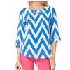 2014 Chevron printed blouse / t shirt in blue/white for women HSM520