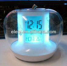 apple shaped alarm clock/7 color changing nature sound apple shaped alarm clock