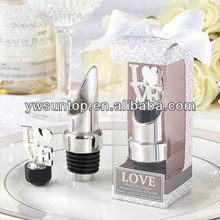 "New Arrival ""LOVE"" Chrome Wine Pourer Bottle Stopper Wedding Favors Wholesale"