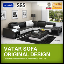 living room small sectional corner leather sofa H2204B