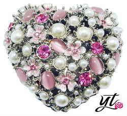 Heart trinket boxes with flowers pink cat eye pearl crystal Rhinestone metal craft Jewelery Boxes decoration lady gift