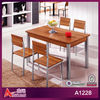 A1228 China Hot Sell Rectangular 120*70*75cm Casual Metal legs Walnut top 4 Person Wooden Modern dining table set
