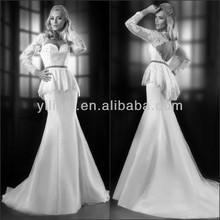 Gorgeous Mermaid Sweetheart Neck Long Sleeve Lace Top Peplum 2014 Tailored Wedding Dresses China