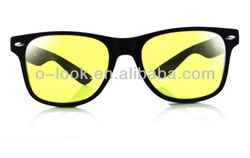 New Unisex Women Man Night Vision Driving Glasses Yellow Lens Wayfarer Sunglasses Eyewear