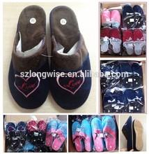 overstocks winter comfortable fleece TPR indoor slippers FD408A TPR indoor slippers stocklots