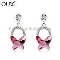 ouxi summer long drop butterfly fashion dangle earrings made with Swarovski Elements 20681