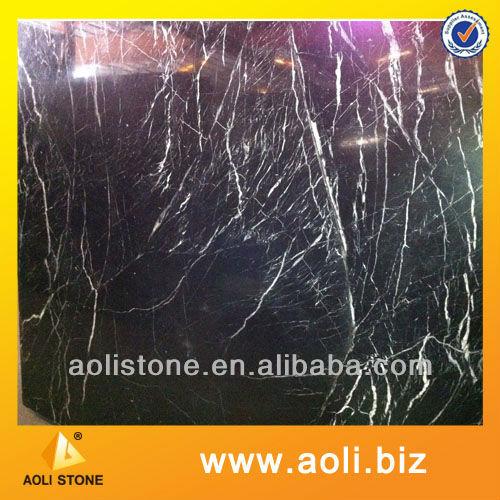 chinese nero marquina polished black marble tile