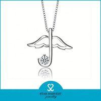 Fasionable silver umbrella gemstone pendants