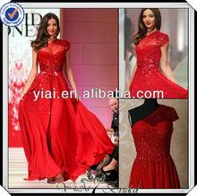 P0270 Beaded One Shoulder Long Red Chiffon Elie Saab Evening Dress 2014