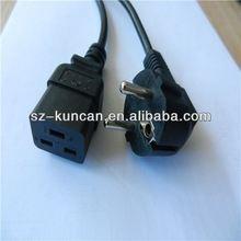 AC 250V 16A C19 external power cable with H05vv-f3g*0.75mm L=1.8M