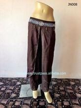 Thai Rayon Aladdin Harem Baggy Genie Pants with Waist Hand Woven and Small Beads. Lanna Fashionable. Hmong Pants Trouser (JN008)