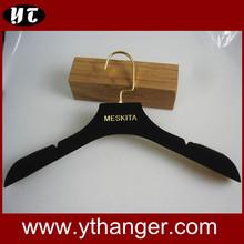 Velvet flocked hanger evening dresses hangers with glod hook and logo