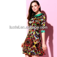 2014 women new fruit print peter pan neck designer elegant dress collar neck design