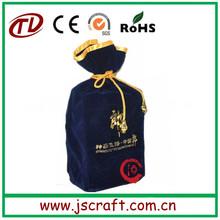 Wholesale eco reusable promotional drawstring velvet bag,velvet wine bag,wine bag