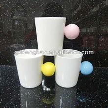creative porcelain 350ml mug cup with colorful ball handle