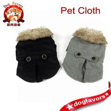 Pet Dog Coat, Thick Furry Collar, Round Button Belt