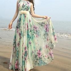 wholesale new dress fashion green floral women long chiffon maxi dress