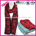 Moda de la señora larga corbatas corbatas rojas leopardo bufandas de la impresión de punto ANIMAL de la bufanda JACQUARD