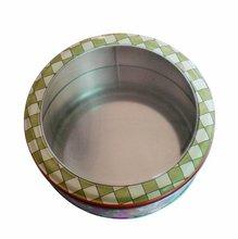 Clean window round metal storage cake tin