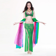 New Sexy Professional Belly dance costume green dress
