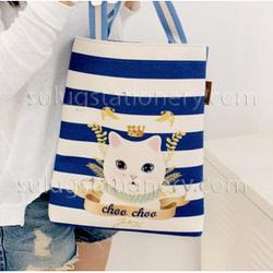 Blue and white stripes cartoon cat tote felt bag