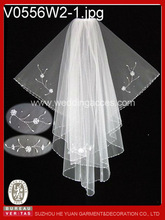 Pearl and sequin floral accents with bead edged wedding bridal church veil/first communion flower girl veil