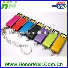 OEM Noble Slim Metal Colorful Swivel Fancy Mini Bulk 2GB Usb Flash Drives with Keychain