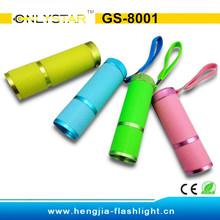 GS-8001 fluorescent and rubber coated Aluminium body 9 led luminous flashlight