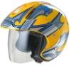 Huadun ABS shell open face motorcycle helmet, yellow decals helmet HD-50K