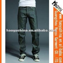 Straight men fancy denim trendy jeans/Leisure straight jeans (HY1884)